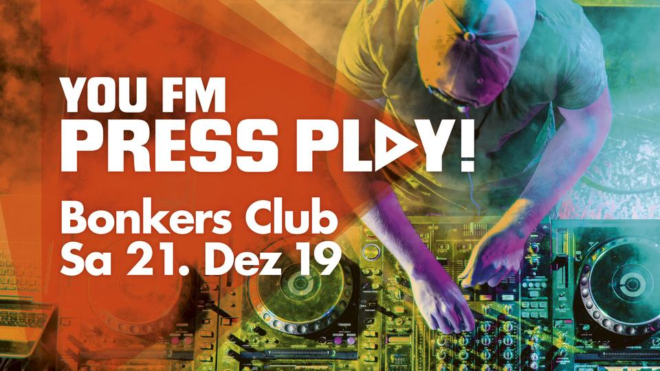 Grafik YOU FM Press Play! im Bonkers