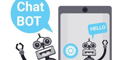 Ein Chatroboter ist auf einem Handydisplay zu sehen