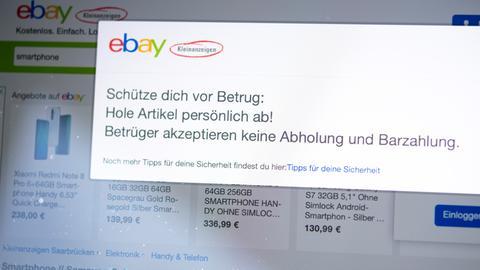 Die Website von Ebay Kleinanzeigen warnt die Nutzer vor Betrug