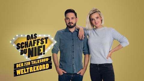 Die beiden funk-Hosts Ariane Alter und Sebastian Meinberg wollen den Guinness-Buch-Weltrekord für die längste Live-Talkshow der Welt knacken.