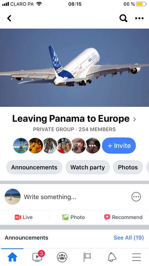 Facebook-Gruppe Leaving Panama to Europe