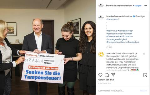 Instagram Bundesfinanzministerium Tamponsteuer