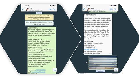Whatsapp Chatverlauf mit AU-Schein.de