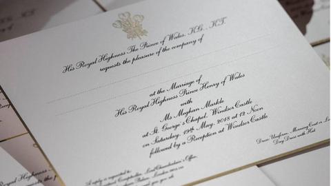 Meghan markle Kalligraphin Einladungskarte