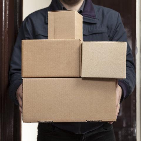 Mehrere Pakete werden von einem Paketboten zugestellt.