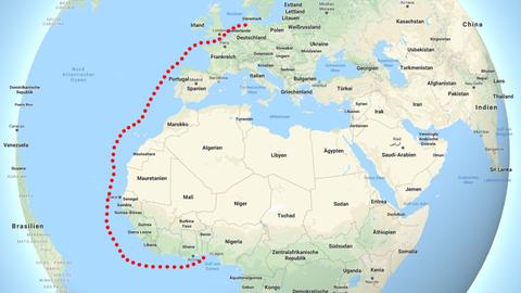 Strecke Hamburg Benin