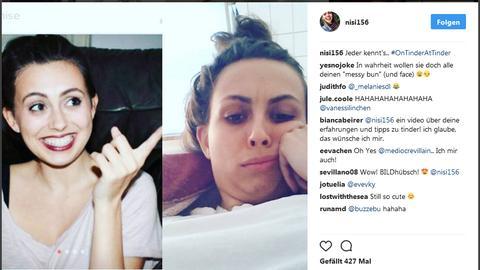 Eine Frau ist auf zwei Bilkdern zu sehen. Ein Bild zeigt ihr Profilbild bei Tinder, ein andereas sie selbst, während der Nutzung von Tinder.