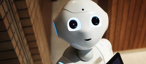 Ein Roboter schaut in die Kamera.
