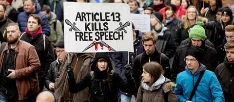 Demonstration gegen Artikel 13