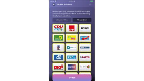 Die App zeigt in einer Liste an, mit welchen Parteien ihr die meisten Übereinstimmungen habt.
