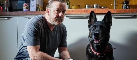 """Tony mit seinem Hund - Szene aus der Netflix-Serie """"After Life"""""""
