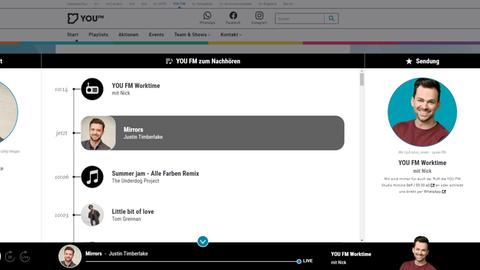 Der Screenshot zeigt den neuen schwarzen YOU FM Webplayer mit der Übersicht über die Show, den Moderator sowie den letzten, den aktuellen und den nächsten Titel.