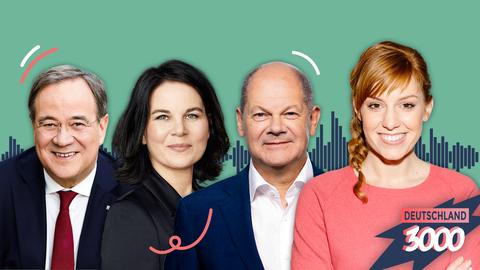 Deutschland3000 Wahl-Spezial mit Armin Laschet, Annalena Baerbock, Olaf Scholz und Moderatorin Eva Schulz.